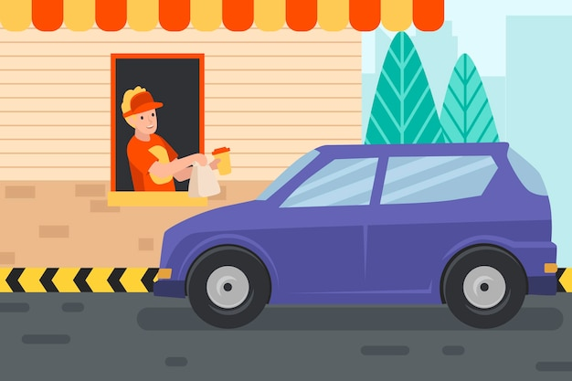 Drive thru window illustration with car and worker
