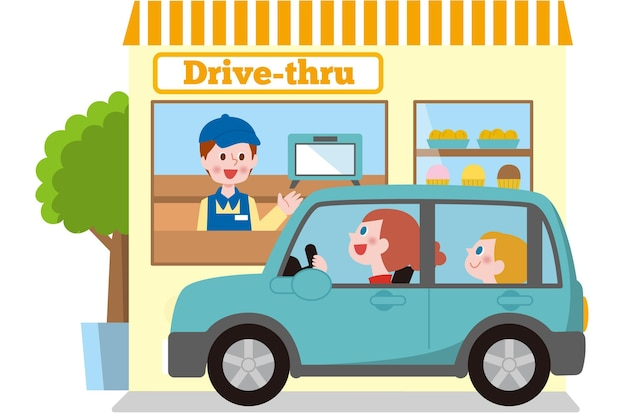 Drive thru window illustration with car