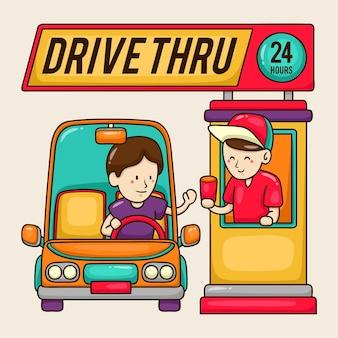 ファーストフードの労働者と顧客とのウィンドウのイラストを介してドライブ