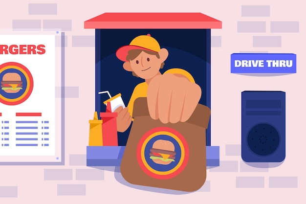 Drive thru window illustration with fast food worker