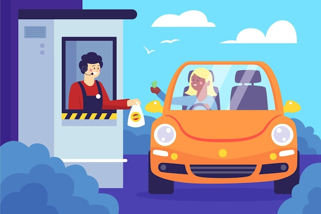 Drive thru window illustration