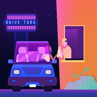 Drive thru window illustration