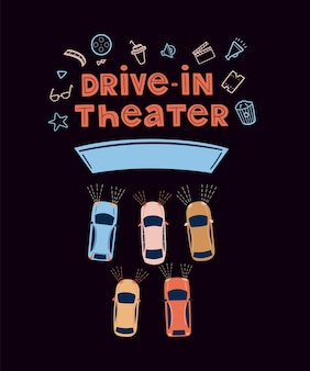 Drivein theater open air cinema concept watching movies outdoors