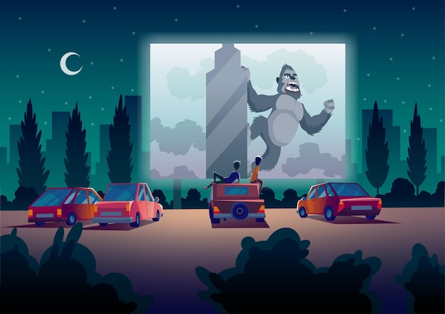 Drivein theater with automobiles stand in open air parking at night Premium Vector