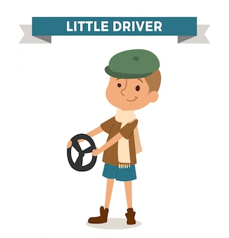 Driver boy with car rude isolated