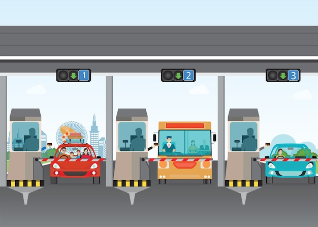 Driver cars passing through to pay road toll at highway toll booth