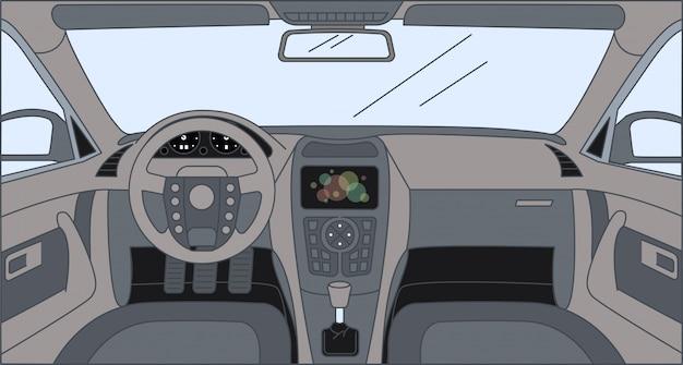 센서 패널, 방향타 및 전면 패널이있는 운전자 전면 모습. 자동차 만화 개요 그림의 인테리어입니다.