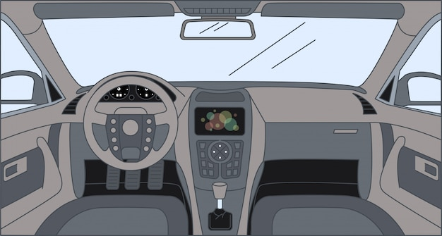 Driver front view with sensor panel, rudder, and front panel. interior of automobile cartoon outline illustration.