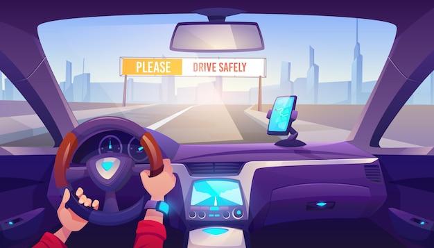 Mani dell'autista sull'illustrazione del volante dell'automobile