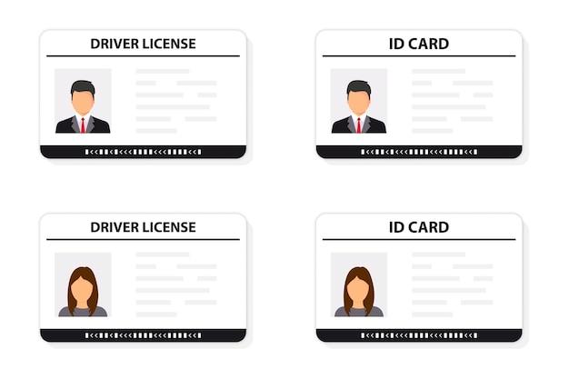 Водительские права. удостоверение личности. значок удостоверения личности. мужчина и женщина водительские права и шаблон карты удостоверения личности. значок водительских прав. водительское удостоверение, подтверждение личности, персональные данные.