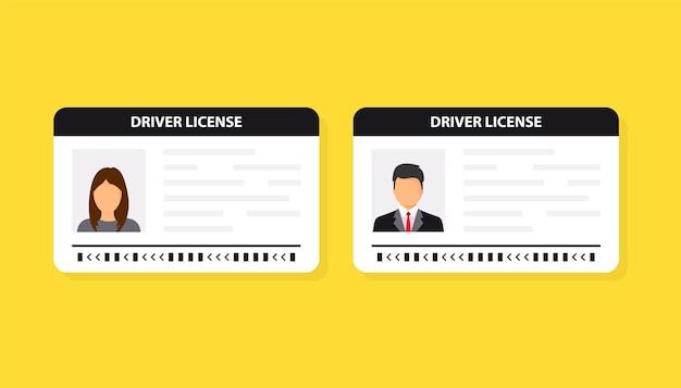 Водительские права. удостоверение личности. значок удостоверения личности. мужчина и женщина шаблон карты водительских прав. векторная иллюстрация плоский дизайн.