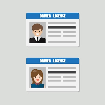Driver license with male and female photo vector illustration. flat style personal identity