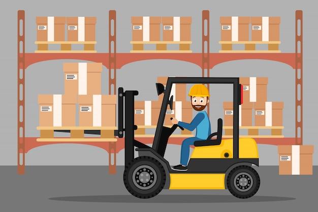 フォークリフトの運転手は倉庫に箱を運ぶ。