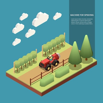 Driver operating machine for spraying orchard trees in garden isometric composition