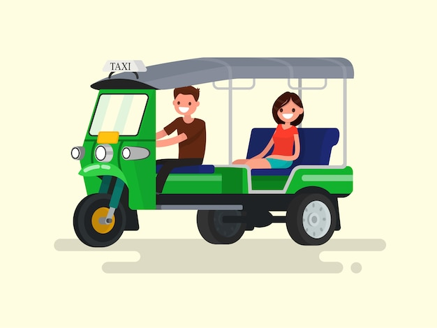 Driver and passenger three-wheeled tuk-tuk taxi illustration