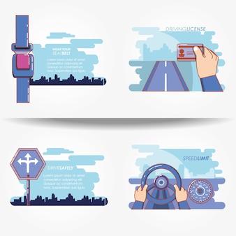 Driver safely campaign set icons vector illustration design