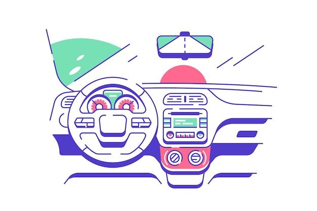現代の車のイラストの運転席