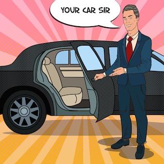 Driver standing near black limousine