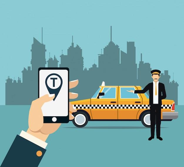 운전사 택시 서비스 온라인 앱 도시 배경