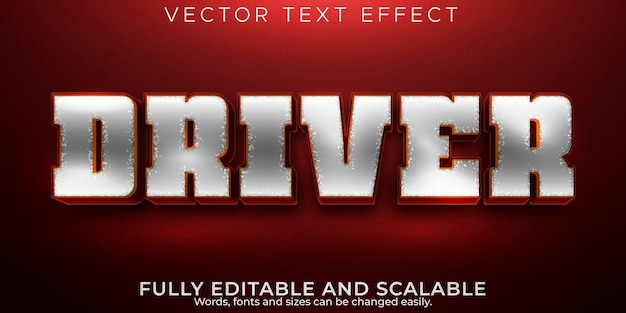 Текстовый эффект водителя, редактируемый стиль текста мотоцикла и байкера