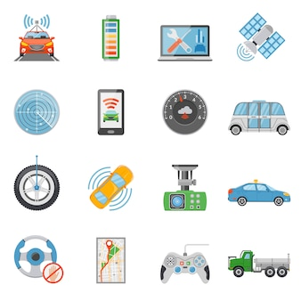 Driverless car autonomous vehicle icons set