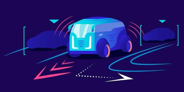 無人車のカラーイラスト。自律輸送、青色の背景に自動運転車両。オートパイロット付きのスマートナビゲートバン。革新的な都市交通