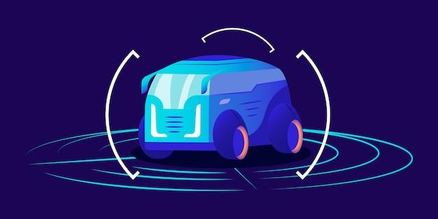 自動運転車のフラットカラー。未来的な自律輸送、青い背景のフレーム付き自動運転バン。スマートトランスポート検出システムインターフェース、仮想ショールームコンセプト