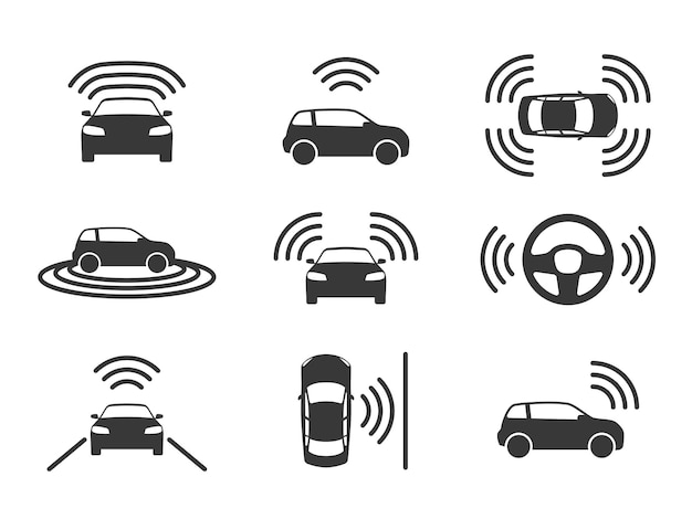 Иконки без водителя. автономное вождение автомобилей, gps-навигация на дороге. умные беспилотные автомобили, электрический роботизированный автомобиль, знак датчика парковки, беспилотный транспорт, черный силуэт, вектор, изолированный набор
