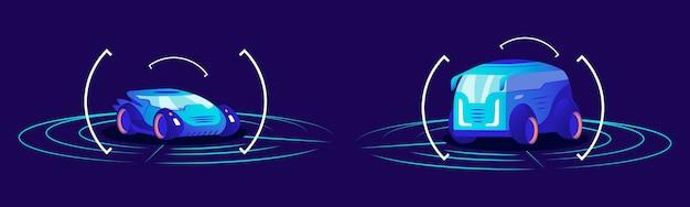 Беспилотные автомобили плоские цветные иллюстрации. футуристический автономный транспорт, самоуправляемые автомобили в рамке на синем фоне. интерфейс интеллектуальной системы обнаружения автомобилей, концепция виртуального выставочного зала