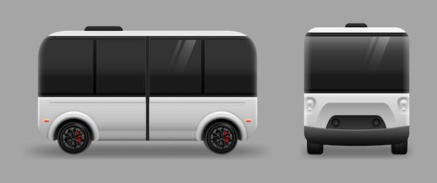 Driverless electric future transport on gray background. autonomous vehicle self driving machine
