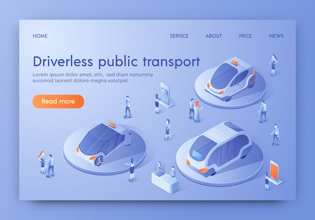Driverless public futuristic transport expo banner