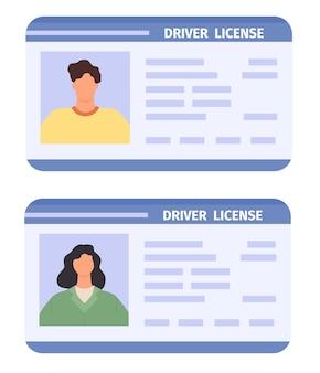 Идентификационная карта водителя. водительские права женщины и мужчины с фотографией. плоский пластиковый значок документа, удостоверяющего личность. набор векторных значков личного водителя. идентификационный документ для вождения автомобиля женщина и мужчина иллюстрация
