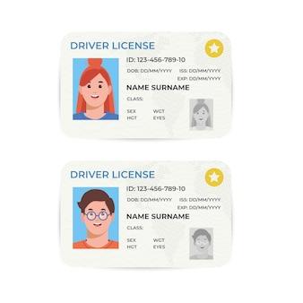 운전 면허증. 플라스틱 신분증입니다. 템플릿의 그림입니다.
