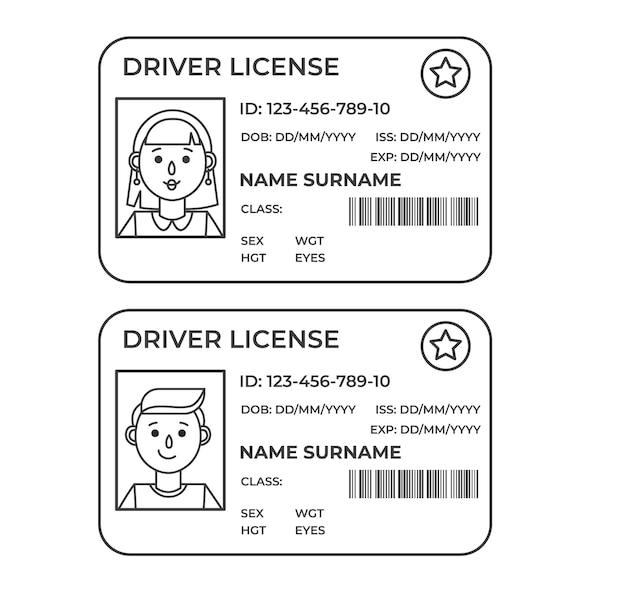 Водительское удостоверение. пластиковое удостоверение личности. контурная иллюстрация шаблона.