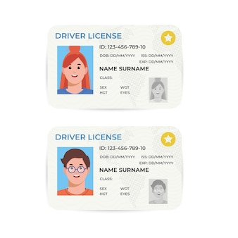 Drivers license. a plastic identity card. illustration of the template.
