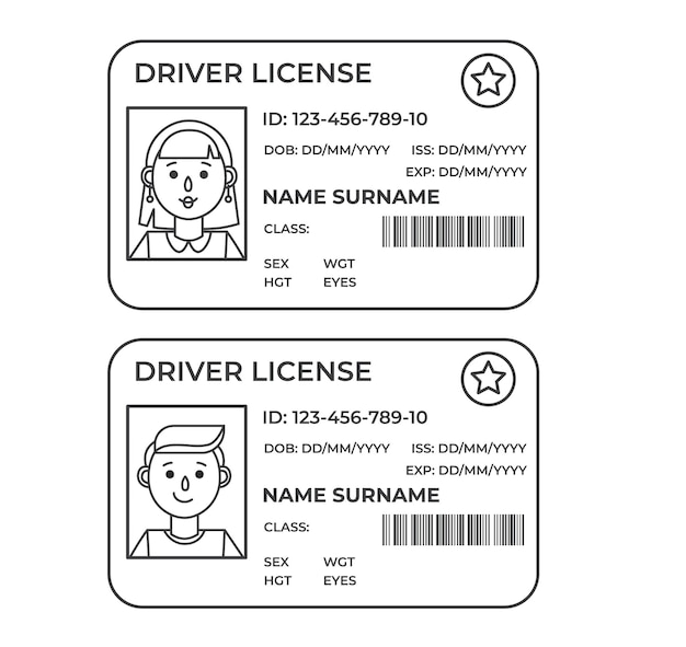 Drivers license. a plastic identity card. outline illustration of the template.