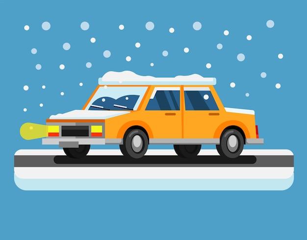 Вождение автомобиля в снежную бурю на рождество и новогодний сезон плоский вектор иллюстрации