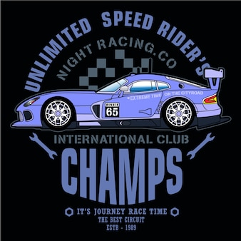 Driving car racing,vector car illustration