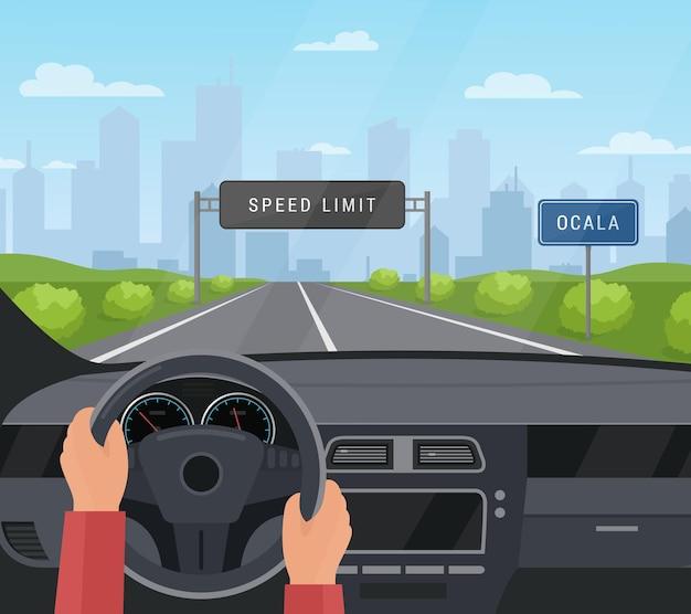 車の安全コンセプトを運転します。制限速度のあるアスファルト道路で自動車を運転し、高速道路で安全標識