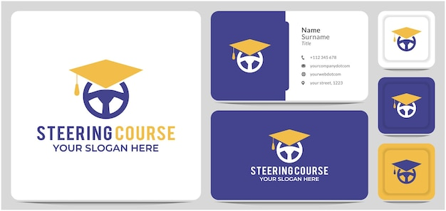 Driving course logo design graduation hat steering wheel for sport education and learn to drive