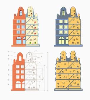 수리, 재건 및 건설을 위한 운전 주택 계획. 건설 회사 및 조직용.