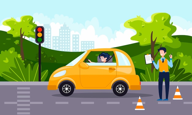 A driving instructor teach a happy young woman to drive a car. driving school concept, driver's license, traffic rules and test. vector flat illustration. natural landscape on the background.