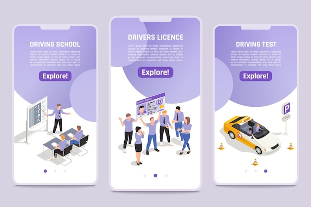 Driving license smartphone screen templates set Free Vector