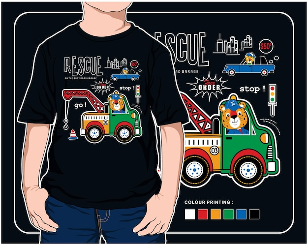 Driving rescue car vector animal cartoon illustration design graphic for printing