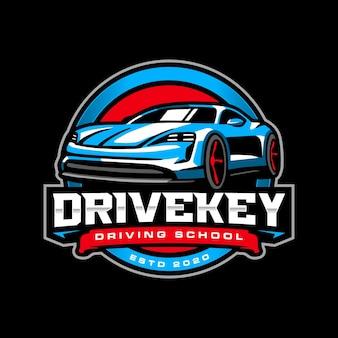 Driving school car mascot logo templat