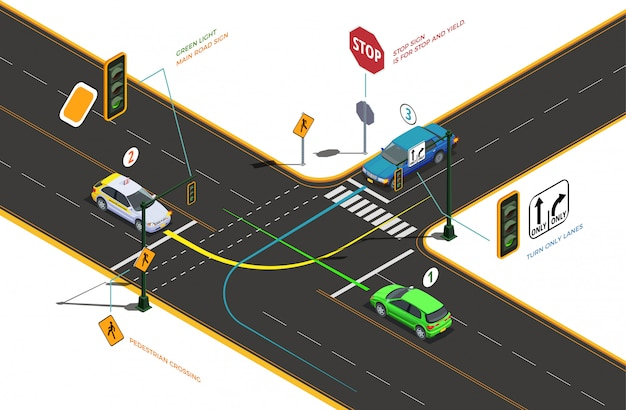 Driving school isometric composition with conceptual pictograms arrows text captions and cars on road intersection illustration