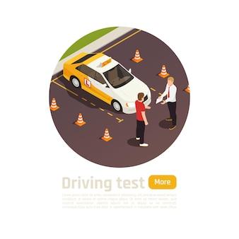 교육 차량 근처 학생 및 강사 문자의 원보기와 운전 학교 아이소 메트릭 라운드 구성