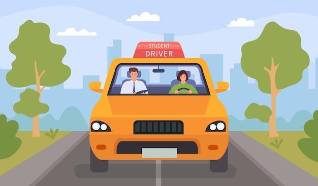운전 학교 수업. 만화 강사와 여학생이 도로에서 차를 운전합니다. 교사는 운전 면허증, 평면 벡터 개념에 대해 여성을 테스트합니다. 일러스트 드라이버 교사, 강사 교육