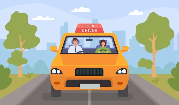 Driving school lesson. cartoon instructor and female student drive car on road. teacher tests woman for driver license, flat vector concept. illustration driver teacher, instructor education