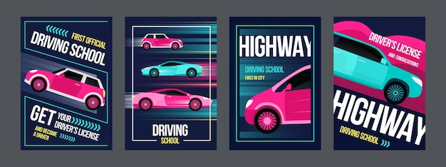 Набор плакатов автошколы. быстрые автомобили в движениях иллюстрации с текстом и рамками.